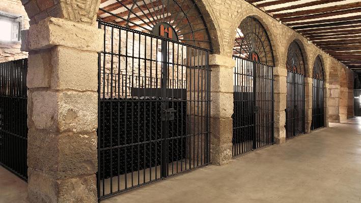 Bottles in the cellar of Baron de Ley